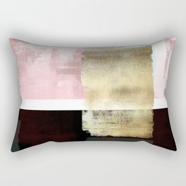 Minimal Abstract Soft Pink Landscape with Gold Rectangular Pillow