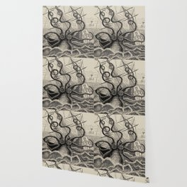 """The octopus; or, The """"Devil-fish"""" - Henry Lee - 1875 Giant Octopus Sinking Ship Wallpaper"""