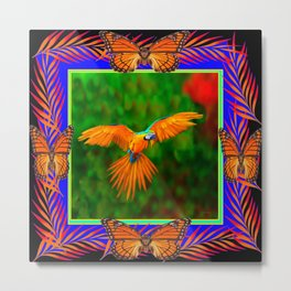 Tropical Butterfly Golden Flying Macaw Blue-Black Art Metal Print