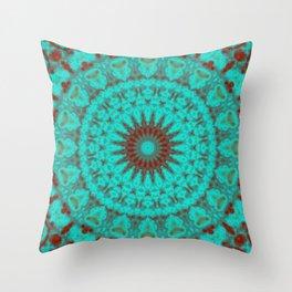 Mandala Fractal in Oxidized Copper 2 Throw Pillow