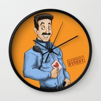 oitnb Wall Clocks featuring Daya, Bennet, & Pornstache OITNB by StephDere