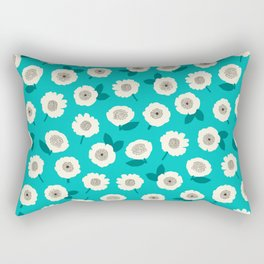 Floating-Floral-Turquoise Rectangular Pillow