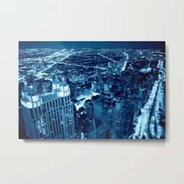 Chicago Nights Blue Metal Print