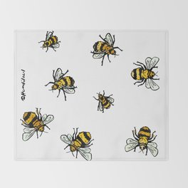 Just Some Beez A - White Throw Blanket