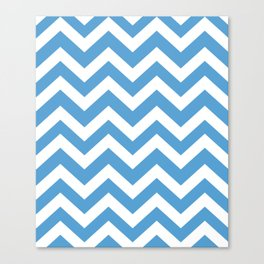 Carolina blue - blue color - Zigzag Chevron Pattern Canvas Print
