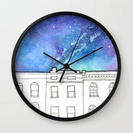 City Rowhomes Beneath A Night Sky Wall Clock