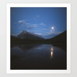 Full Moon Over Vermillion Lakes | Banff National Park, Alberta, Canada | John Hill Photography Art Print