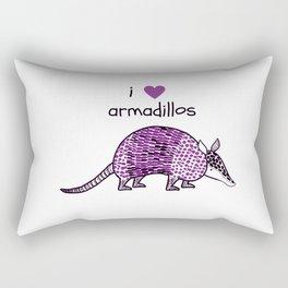 I HEART ARMADILLOS | I love armadillos illustration in purple Rectangular Pillow