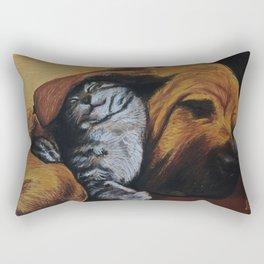 Cat and bloodhound Rectangular Pillow