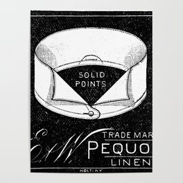 black and white vintage shirt collar retro laundry room Poster
