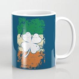 Distressed Irish Flag St Patrick Shamrock Blue Coffee Mug