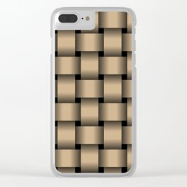Large Tan Brown Weave Clear iPhone Case