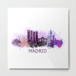 Madrid City Skyline HQ Metal Print