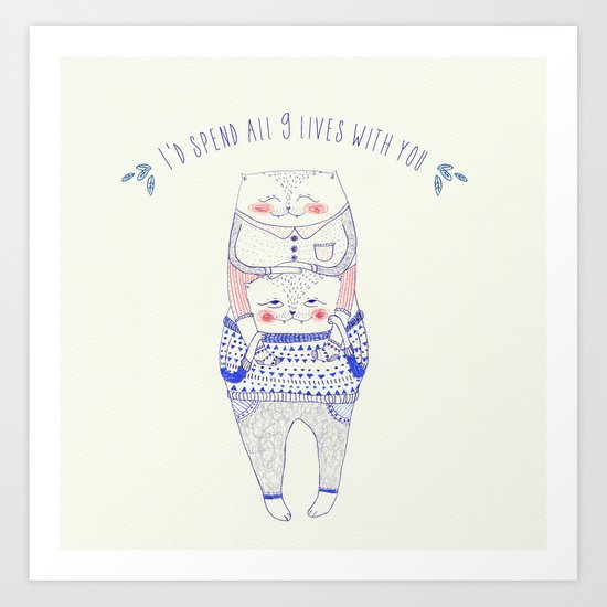 nine lives cat Art Print