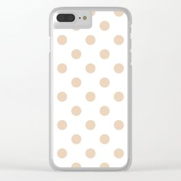 Polka Dots - Pastel Brown on White Clear iPhone Case