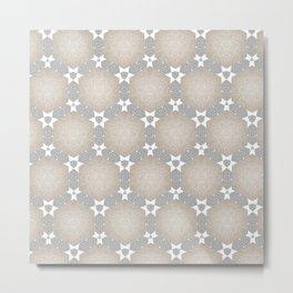 Grey Taupe Hexagon Star Pattern Metal Print