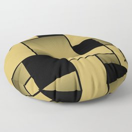 Mondrian Neoplastic Gold Art Floor Pillow