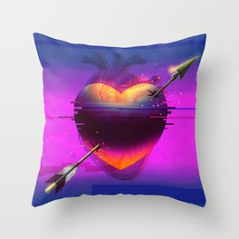 Heart Glitch Throw Pillow