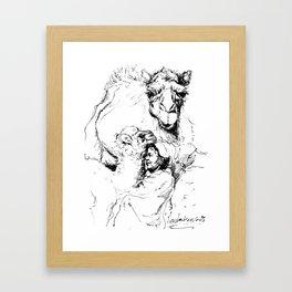 With camels Framed Art Print