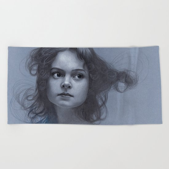 Behind greyness - pencil drawing on paperboard Beach Towel