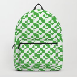 Green and White Irish Clover Check Pattern Backpack