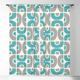 Funky Mid Century Modern Pattern 554 Gray and Turquoise Blackout Curtain
