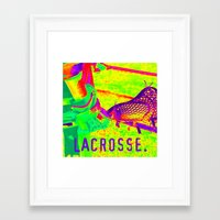 lacrosse Framed Art Prints featuring LACROSSE PLAYER by TMCdesigns