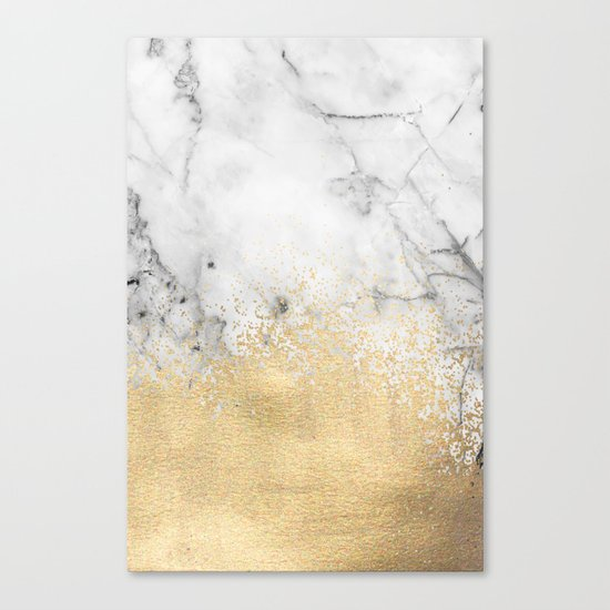 Gold Dust on Marble Canvas Print