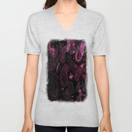 Pink Roses in Anzures 1 Paisley 2 Unisex V-Neck