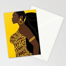 Honey // Yellow, Melanin, Woman, Femme, Black, Brown, Gold Stationery Cards