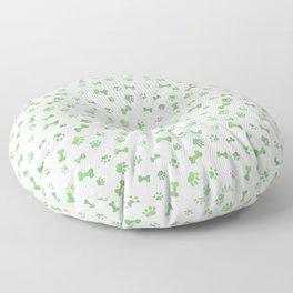 Green Watercolor Dog Paws & Bones Floor Pillow