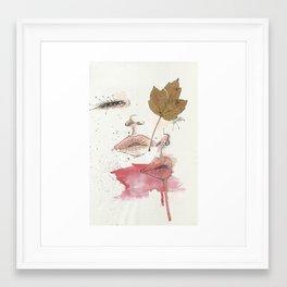 Leaf and lips Framed Art Print