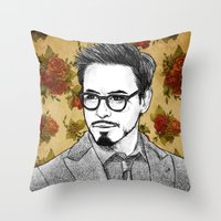 robert downey jr Throw Pillows featuring ROBERT DOWNEY JR by FISHNONES