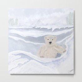Polar Bear Baby On The Ice Metal Print