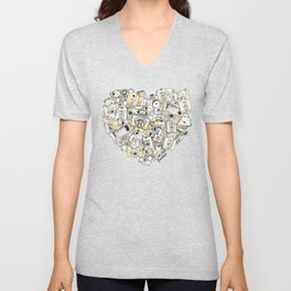 Camera Heart - on yellow Unisex V-Neck
