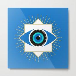 The Evil Eye Blue Metal Print