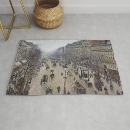 Camille Pissarro  -  Boulevard Montmartre  Morning  Cloudy Weather Rug