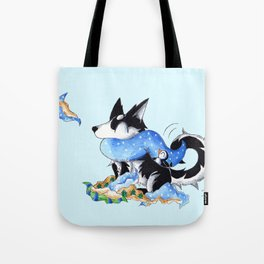 Wrapping Paper Pup Tote Bag