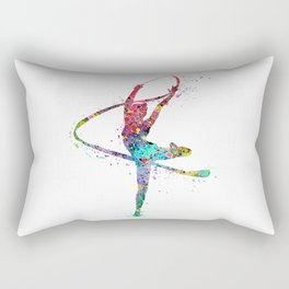 Rhythmic Gymnastics Print Sports Print Watercolor Print Rectangular Pillow