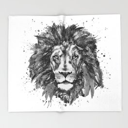 Black and White Lion Head Throw Blanket