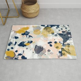 Esther - abstract minimal gold navy painting home decor minimalist hipster art Rug