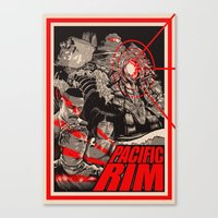 pacific rim Canvas Prints featuring PACIFIC RIM by Messypandas