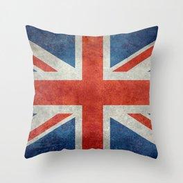 Union Jack flag, grungy retro 1:2 scale Throw Pillow
