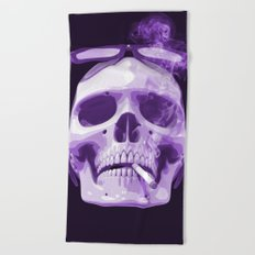 Skull Smoking Cigarette Purple Beach Towel