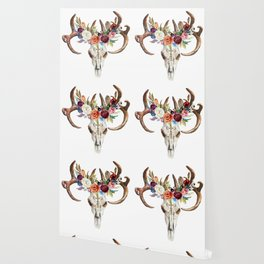 Colorful flowers & feathers dreamcatcher bull skull Wallpaper