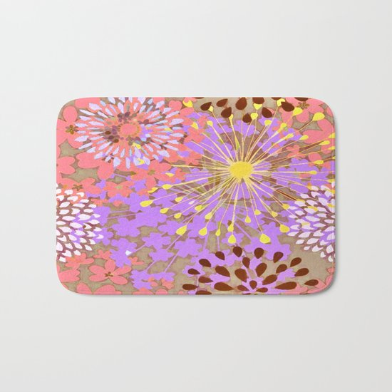 Bright Floral Explosion Abstract Bath Mat