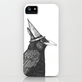 Willem Dacrowe Crow Wearing a Witch's Hat iPhone Case