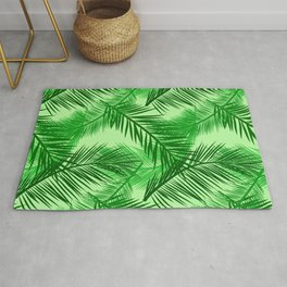 Palm Leaf Print, Emerald and Light Lime Green Rug