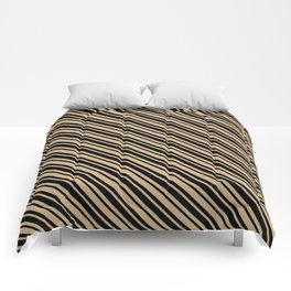 Tan Brown and Black Diagonal LTR Var Size Stripes Comforters