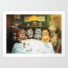 Kitty Happy Hour - Louis Wain's Cats Art Print